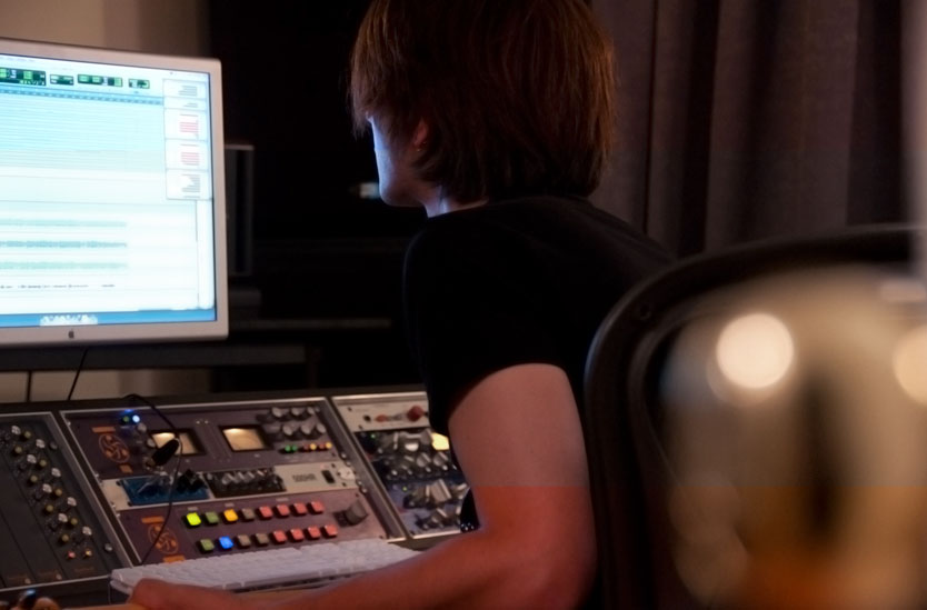 AudioLot President and Chief Engineer Joshua Aaron mixing an album at the studio desk